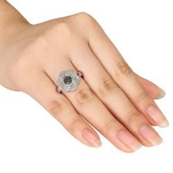 Miadora Sterling Silver White Sapphire and Black Diamond Flower Ring