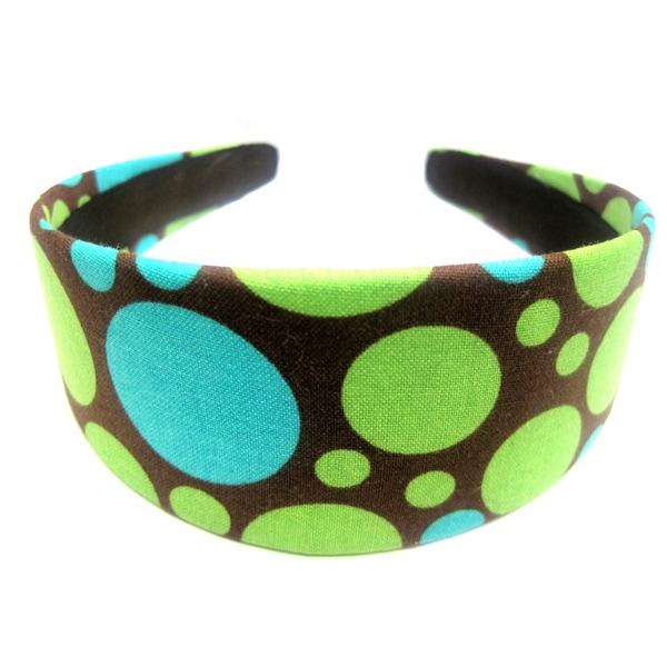 Crawford Corner Shop Brown Teal Green Circles Headband