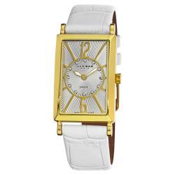 Akribos XXIV Women's Rectangular Stainless Steel Diamond Water Resistant Strap Watch