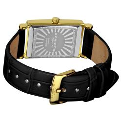 Akribos XXIV Women's Rectangular Gold-Tone Case Stainless Steel Diamond Strap Watch