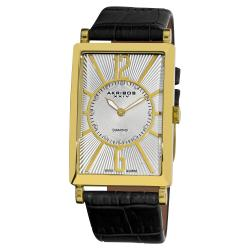 Akribos XXIV Men's Rectangular Stainless Steel Diamond Leather-Strap Watch