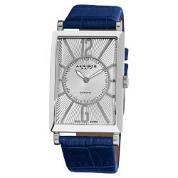 Akribos XXIV Men's Rectangular Stainless Steel Diamond Strap Watch