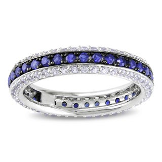 Miadora Sterling Silver Created Blue and White Sapphire Eternity Ring