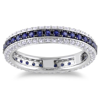 Miadora Sterling Silver Colored Gemstone Eternity Ring