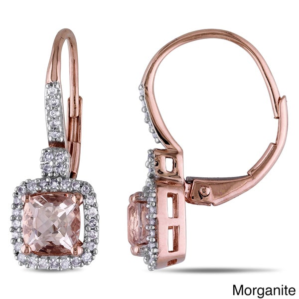 Miadora 10k Gold Sapphire or Morganite and 1/5ct TDW Diamond Earrings (G-H, I1-I2)