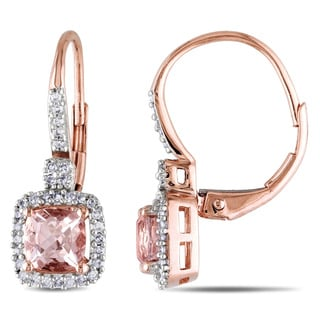 Miadora 10k Gold Sapphire or Morganite and 1/5ct TDW Diamond Earrings (G-H, I1-I2)