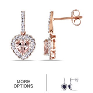 Miadora 10k Gold Sapphire or Morganite and 1/4ct TDW Diamond Heart Earrings