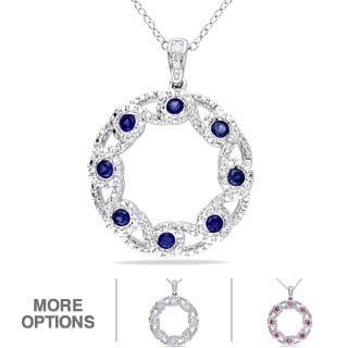Miadora Sterling Silver Sapphire and Diamond Accent Circle Necklace (H-I, I2-I3)