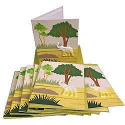 Set of 10 Elephant Dung Natural White Paper Greeting Cards (Sri Lanka)