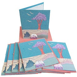 Set of 10 Elephant Dung Robin's Egg Blue Paper Greeting Cards (Sri Lanka)