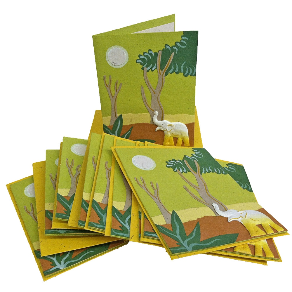 Set of 10 Elephant Dung Light Green Paper Greeting Cards (Sri Lanka)