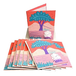 Set of 10 Elephant Dung Pink Paper Greeting Cards (Sri Lanka)
