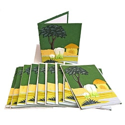 Set of 10 Elephant Dung Dark Green Paper Greeting Cards (Sri Lanka)