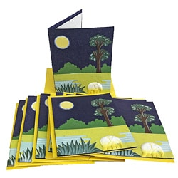 Set of 10 Elephant Dung Midnight Blue Paper Greeting Cards (Sri Lanka)