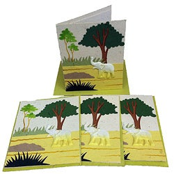 Set of 4 Elephant Dung Natural White Paper Greeting Cards (Sri Lanka)