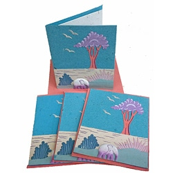 Set of 4 Elephant Dung Robin's Egg Blue Paper Greeting Cards (Sri Lanka)