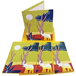 Set of 4 Elephant Dung Light Green Paper Greeting Cards (Sri Lanka)