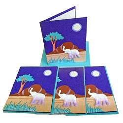 Set of 4 Elephant Dung Purple Paper Greeting Cards (Sri Lanka)