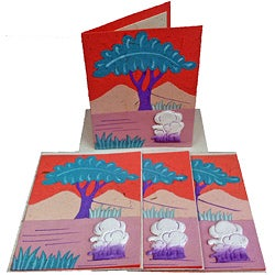 Set of 4 Elephant Dung Pink Paper Greeting Cards (Sri Lanka)