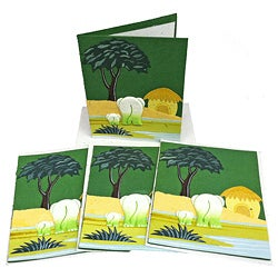 Set of 4 Elephant Dung Dark Green Paper Greeting Cards (Sri Lanka)
