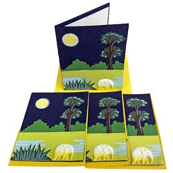 Set of 4 Elephant Dung Midnight Blue Paper Greeting Cards (Sri Lanka)