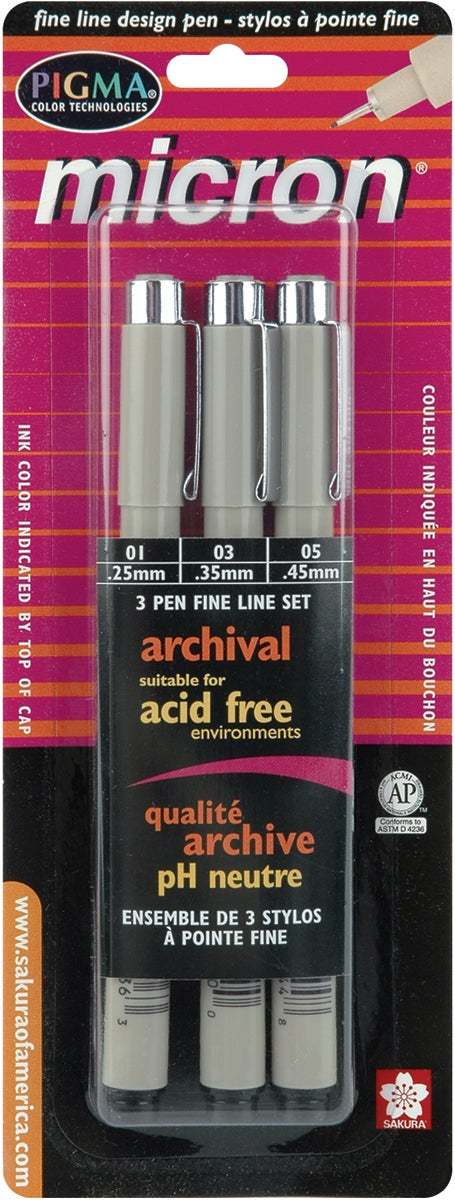 Sakura Pigma Micron Three-pack Black Plastic Pen Set (Assorted Sizes)