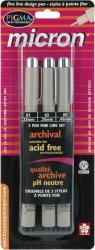 Sakura Pigma Micron Three-pack Black Plastic Pen Set (Assorted Sizes)