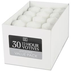 "Unscented 12 Hour Votive Candles 1.3""X1.8"" 30/Pkg-White"