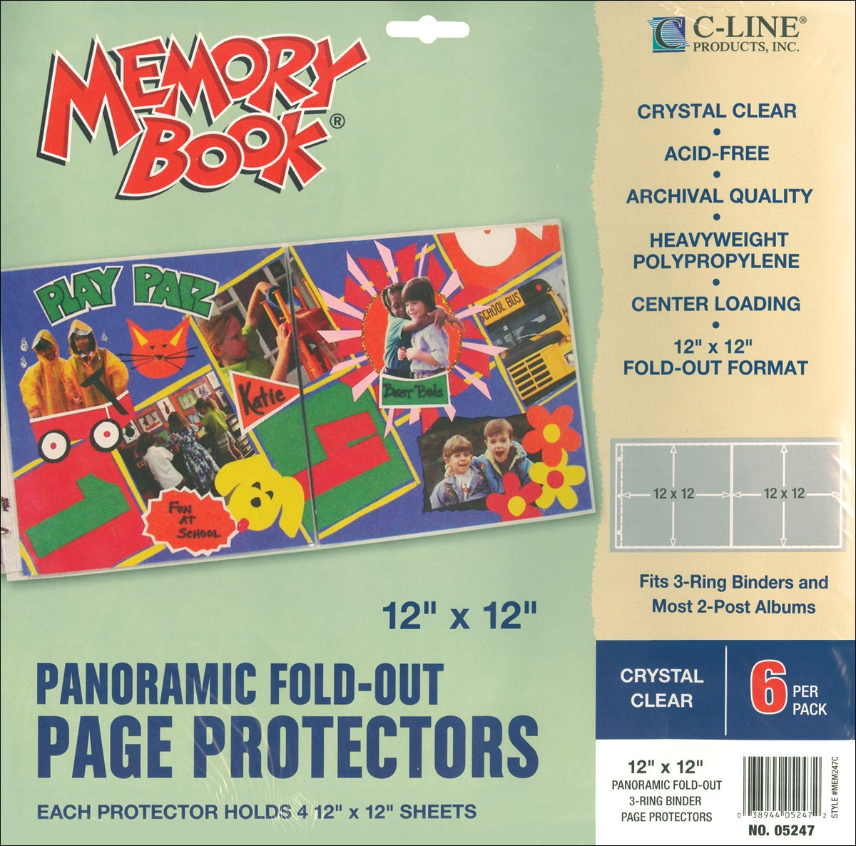 "Memory Book Panoramic Fold-Out Page Protectors 12""X12""-Clear 6/Pkg"