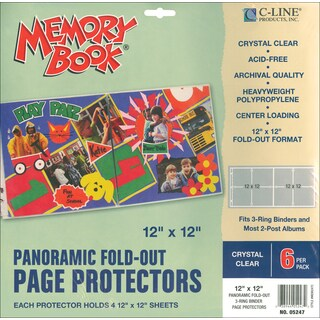 """Memory Book Panoramic Fold-Out Page Protectors 12""""X12""""-Clear 6/Pkg"""