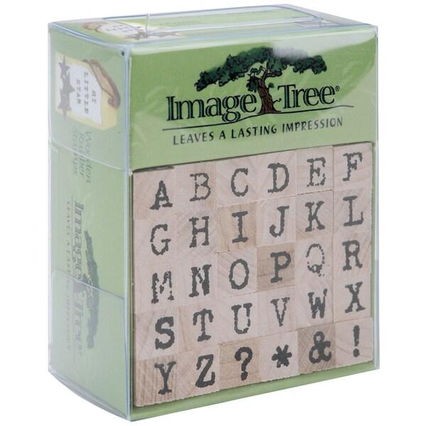 Image Tree Handle Rubber Stamp Set-Antique Typewriter Alphabet/Upper