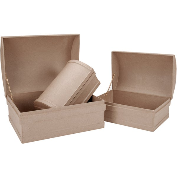 "Paper Mache Treasure Chest Box Set of 3-12"", 10-1/4"", 8-3/4"""