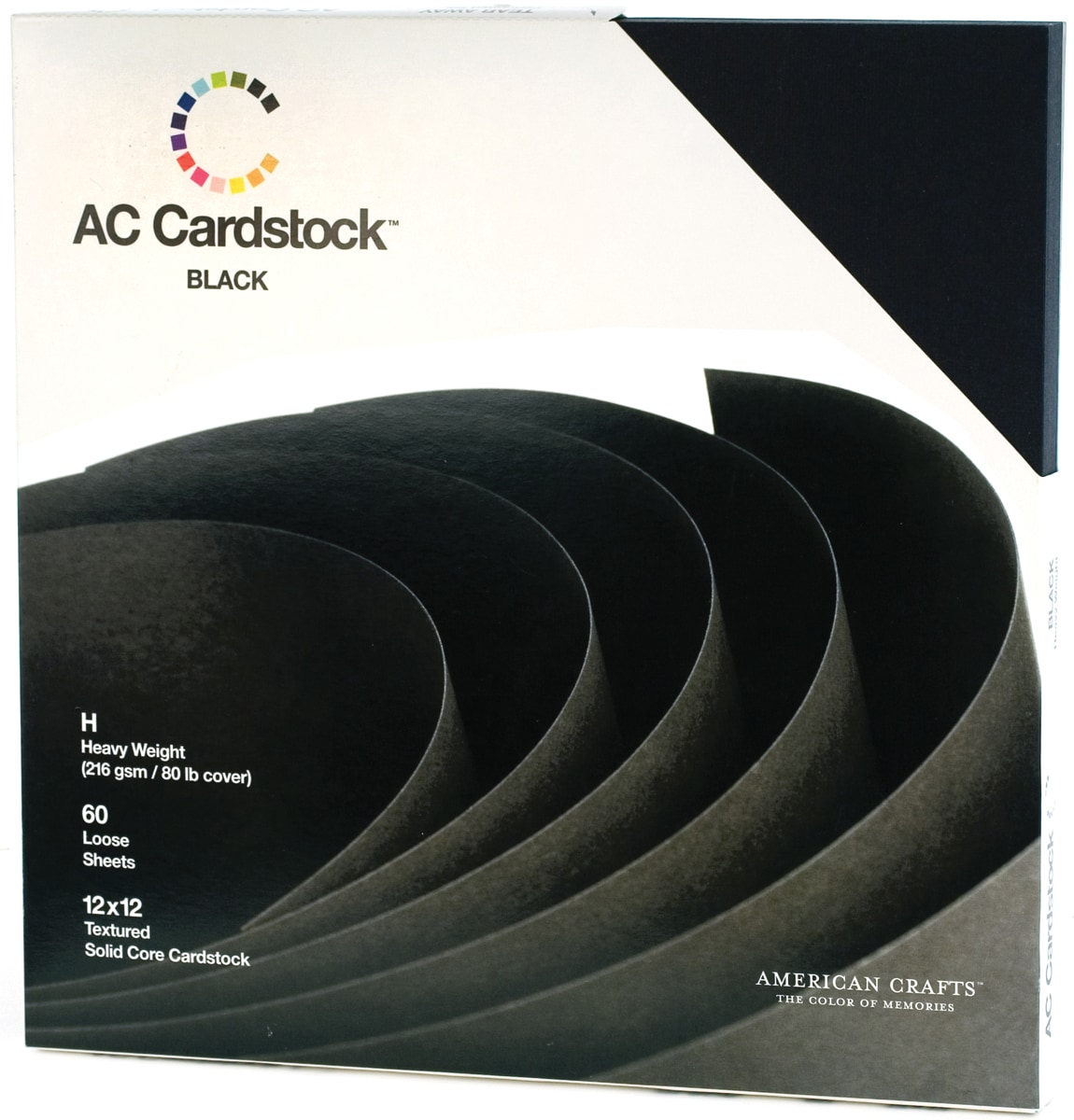 "American Crafts Cardstock Pack 12""X12"" 60/Pkg-Black"