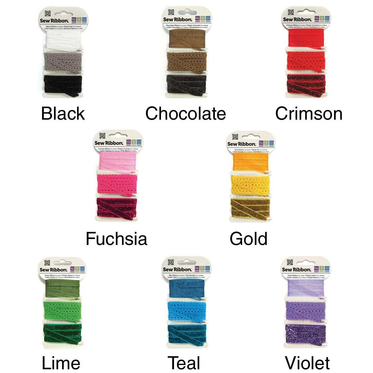 We R Memory Keepers Three-style Sew Ribbon - Six Yards Total/Pkg
