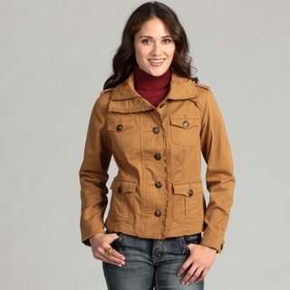 Live a Little Women's Ruffle Trim Military Jacket
