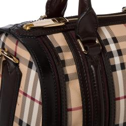 Burberry Medium Haymarket Check/ Chocolate/ Plum Bowler Bag