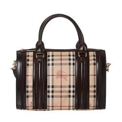 b4f0209e5f46 Cheap Burberry Medium Haymarket Check  Chocolate  Plum Bowler Bag ...