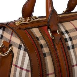 Burberry Medium Haymarket Check/ Chocolate/ Rust Bowler Bag