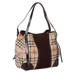 Burberry Small Haymarket Check/ Plum Suede Tote Bag