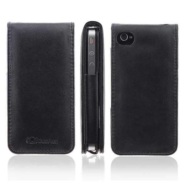 BasAcc Black Leather Case for Apple® iPhone 4/ 4S