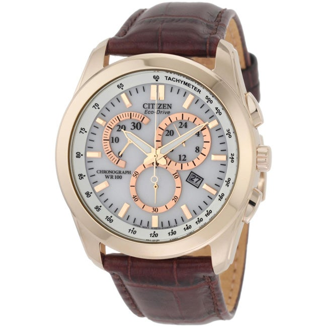 Citizen Men's Eco-Drive Chronograph Brown Leather Watch