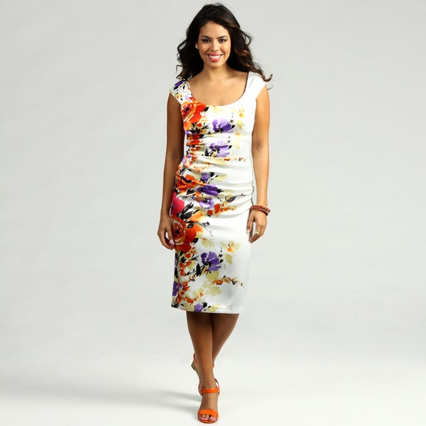 London Times Women's Printed Stretch Satin Dress