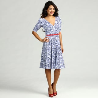London Times Women's Belted Jersey Dress