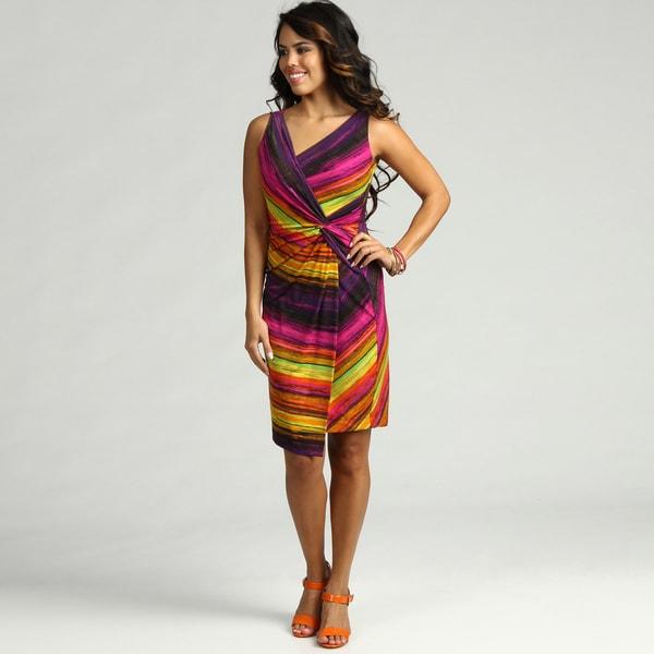 London Times Women's Matte Jersey Abstract Print Dress