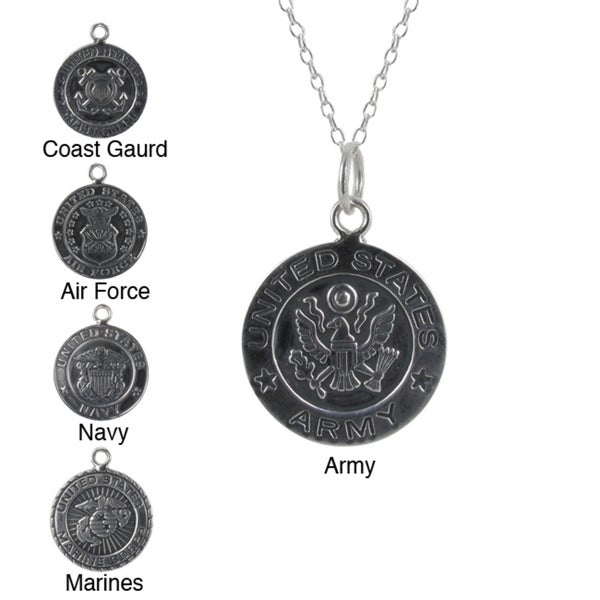 Sunstone Sterling Silver U.S. Military Branch Emblem Necklace