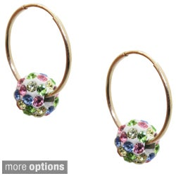 10k Yellow Gold Children's Colored Crystal Slider Bead Hoop Earrings