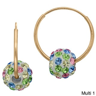 Gioelli 10k Yellow Gold Children's Colored Crystal Slider Bead Hoop Earrings