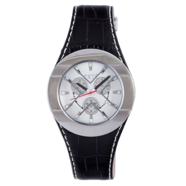 Exte Men's Black Patent Leather Watch