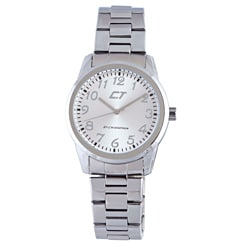 Chronotech Men's Silver Dial Polished Stainless Steel Quartz Watch