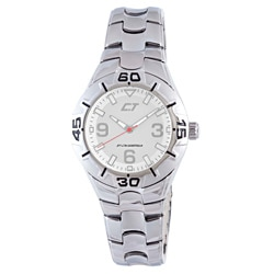 Chronotech Men's Silver Dial Polished Stainless Steel Watch
